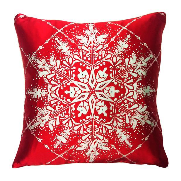 Snowflake Grid Satin Throw Pillow
