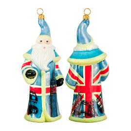 Glitterazzi International British Flag Santa Ornament