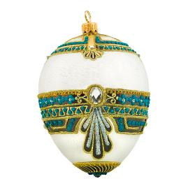 Glitterazzi International White & Turqouise Jeweled Egg