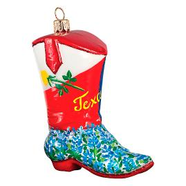 Texas Cowboy Boot with Blue Bonnets Ornament
