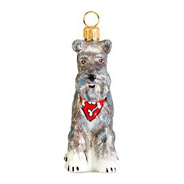 Schnauzer with Flop Ear and Bandana Ornament
