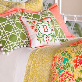 Coconut Grove Monogrammed Decorative Pillow