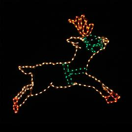 Lighted Outdoor Leaping Reindeer