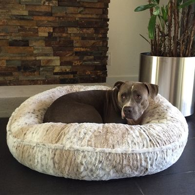L A Dog Company 174 Pearl Leopard Chenille Donut Pet Bed