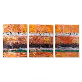 Set of Three Vistas Copper Wall Panels