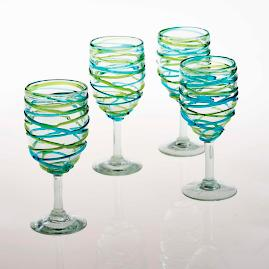 Margaritaville Swirl Wine Goblets, Set of Four