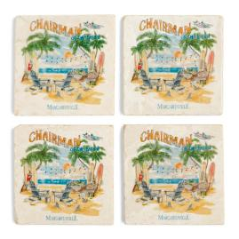 Margaritaville Chairman Marble Coasters, Set of Four