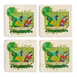 Margaritaville Fins Marble Coasters, Set of Four