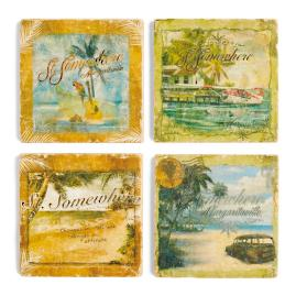 Margaritaville St. Somewhere Marble Coasters, Set of Four