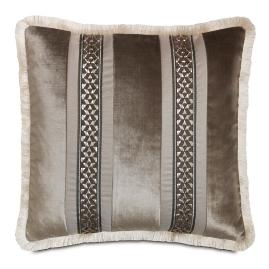 Ezra Smoke Velvet Stripe Decorative Pillow