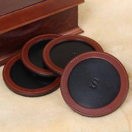 Personalized Round Leather Coasters, Set of Four