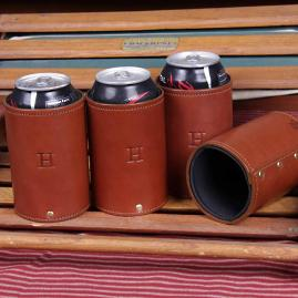 Personalized Leather Can Caddies, Set of Four