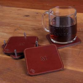 Personalized Square Leather Coasters, Set of Four