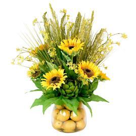 Sunflower and Artichoke Lemon Filled Vase