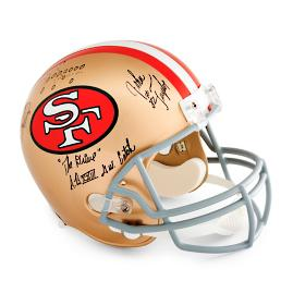 Joe Montana and John Taylor Autographed Helmet