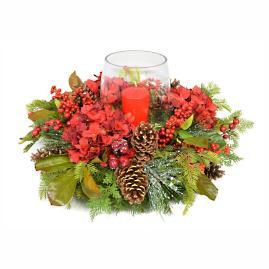 Red Hydrangea Holiday Centerpiece