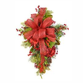 Red Hydrangea Holiday Swag with Bow