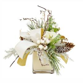 Cream and Gold Holiday Centerpiece in Vase
