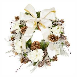 Cream and Gold Holiday Wreath