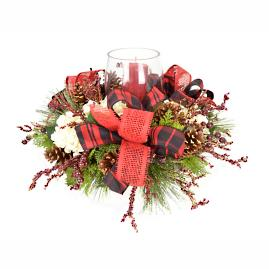 Holiday Plaid and Hydrangea Candle Centerpiece