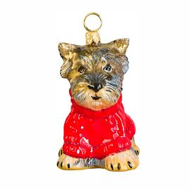 Diva Dog Yorkie in Red Sweater Ornament