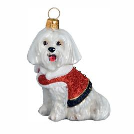 Diva Dog Maltese Santa Paws Ornament