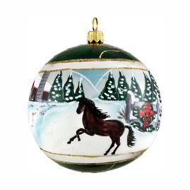 Snowy Barn with Stallion Reflector Ball Ornament