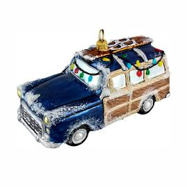 Woody Car with Skis Ornament