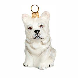 French Bulldog White Ornament