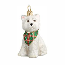Westie Puppy with Tartan Plaid Bandana Ornament