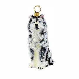 Snowy Siberian Husky Ornament