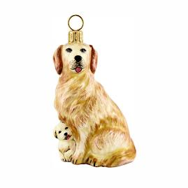 Golden Retriever Mother with Puppy Ornament
