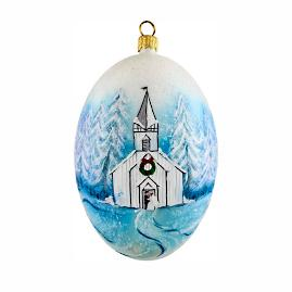 Timeless Winter Wedding Egg Ornament