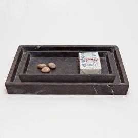 Luxor Black Matte Marble Nested Tray Set