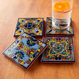 Moroccan Midnight Hand Painted Tile Coasters, Set of