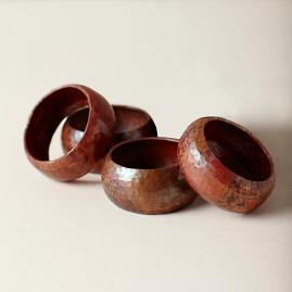 Copper Napkin Rings, Set of Four