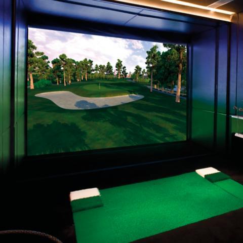 Full swing golf elite golf simulator frontgate for Golf simulator room dimensions