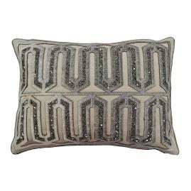 Aziza Embellished Hide Linen Decorative Pillow
