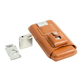 Deluxe Leather Cigar Holder with Cutter and Lighter
