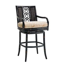 Marimba Wicker Swivel Bar Stool with Cushion by