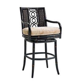 Marimba Wicker Swivel Bar Stool with Cushion by