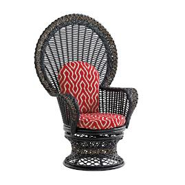 Marimba Wicker Swivel Fan Chair with Cushions by