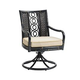 Marimba Wicker Swivel Rocking Dining Chair with Cushions