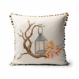 Handpainted Lantern Decorative Pillow
