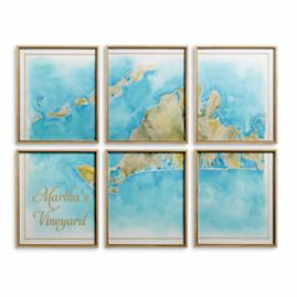 Martha's Vineyard Watercolor Wall Art, Set of Six