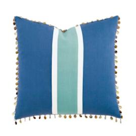 Breeze Aqua Decorative Pillow with Beaded Trim