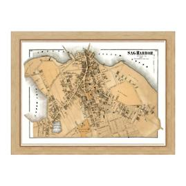 Sag Harbor Sepia Framed Map