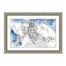 Sag Harbor Blue Framed Map