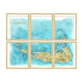 Nantucket Watercolor Map, Set of Six