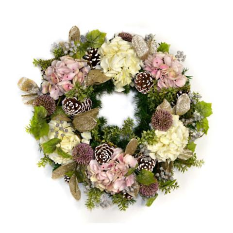 Evergreen And Blush Holiday Wreath Frontgate